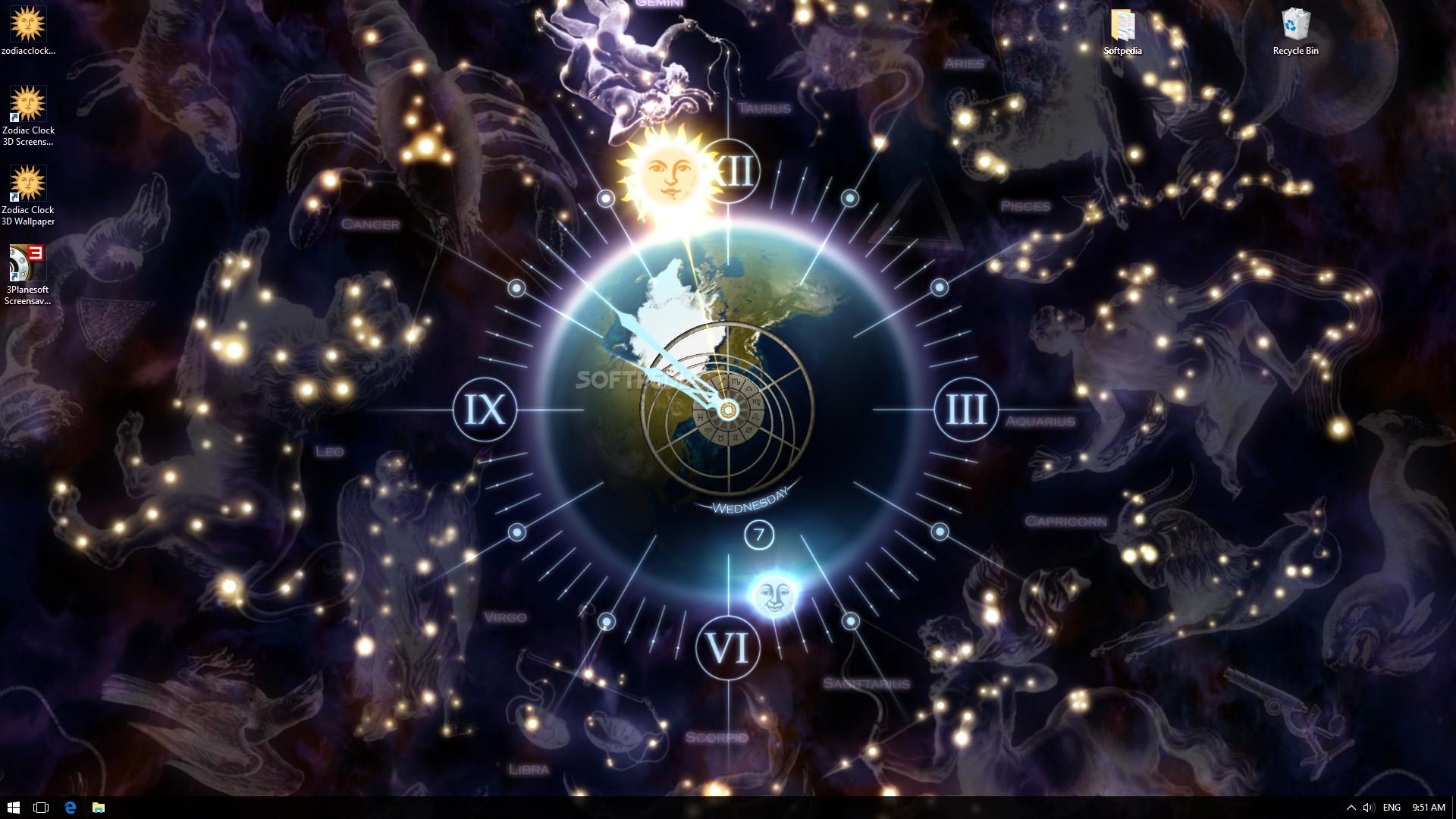 Earth 3d Live Wallpaper Windows 7 Download Zodiac Clock 3d Screensaver 1 1 Build 8