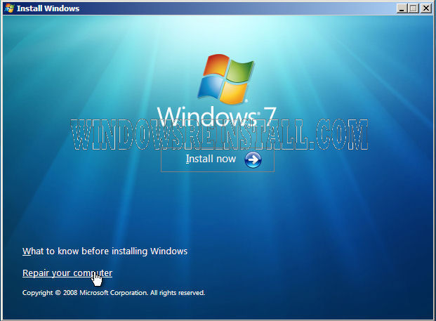 Repair Startup in Windows 7 from the Windows DVD - windows repair install