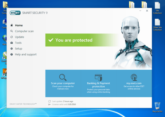 ESET Smart Security 9 Lifetime Activation key + Crack ESET Smart Security 9 is the final antivirus program that is very popular all around the world. This antivirus is equally useful for both desktop computer and laptop as well. This antivirus program is very light and does not take up much memory of your hard drive. This new version of ESET Smart Security 9 kept many new features in it that helps to protect your system from dangerous threats and other viruses programs. This version of ESET Smart Security 9 also included parental control option along with high internet security, anti-spam system and intelligent firewall. ESET Smart Security 9 has advance virus detection technology that detects and remove all the hidden viruses from your computer and safe it from threats. This antivirus program offer real time protection to your computer against new viruses and work in both modes either your system is online or offline. ESET Smart Security 9 is highly recommended for internet security so that you may safe from damage or loss of your data due to online viruses or any other threats that may cause the loss of your data. You can able to use all the features of ESET Smart Security 9 in this cracked version that are not available in the trial version. Full version of ESET Smart Security 9 provides you real time security from all kinds of malwares and threats. Key Features of ESET Smart Security 9 ESET Smart Security 9 has the following features in it. •Best antivirus ever. • Anti-theft • Anti-spyware • Anti-phishing • Anti-spam • Parental control • Personal firewall • Advance scanner • Botnet protection • Social media scanner • Full internet security How to install and activate ESET Smart Security 9 for free • Download ESET Smart Security 9 from the given download link that is given below. • Now launch the setup and complete the installation process. • After completing the installation, copy the crack from the downloaded file and paste it in installation directory. • Now Enjoy the activated version of the ESET Smart Security 9 totally free.