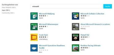 Windows Web Store Suche