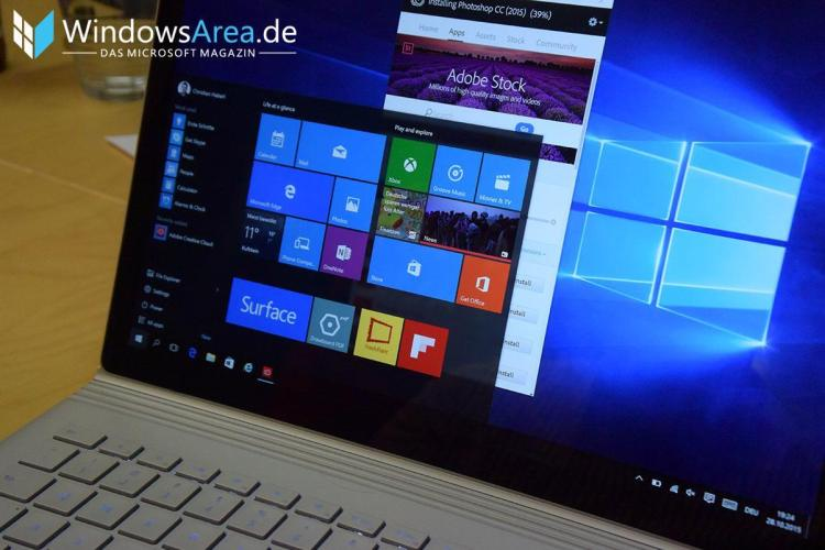 Microsoft Surface Book startmenü windows 10 farben