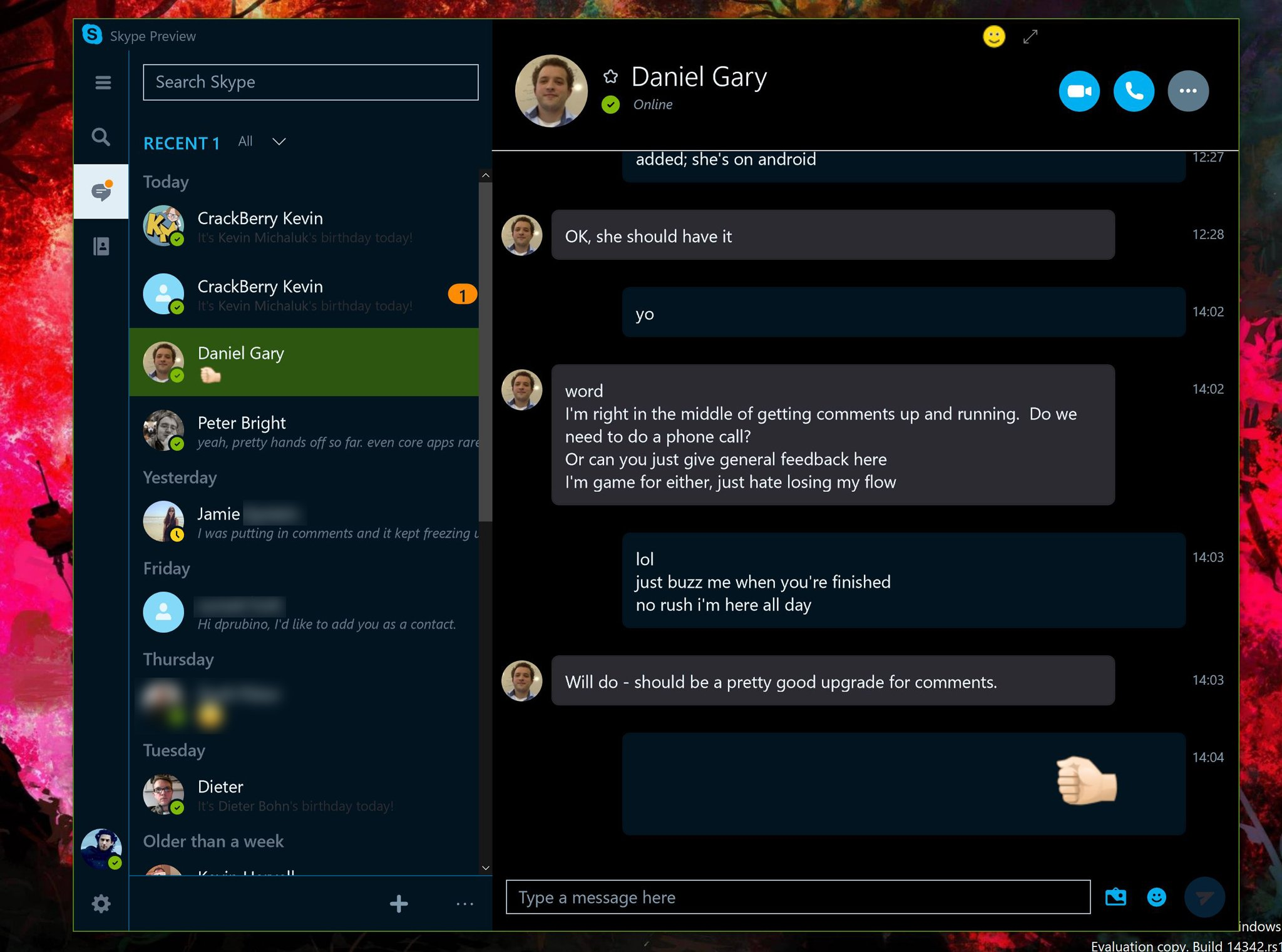 My Dal Login Skype Preview For Windows 10 Updated With Dark Theme And