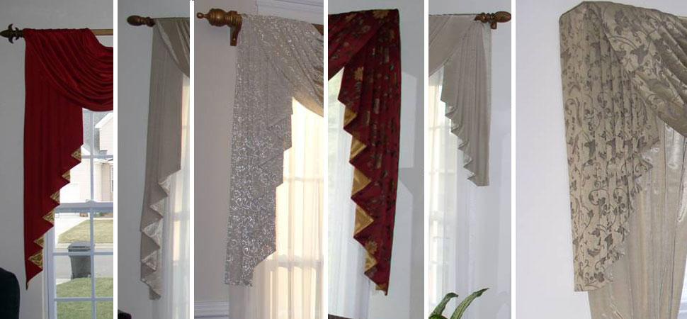 Custom Window Sconces I Swag Curtains I Cascades - - swag curtains for living room