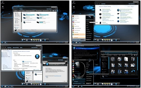 Download Free Blue Alienware Windows 7 Skin Pack