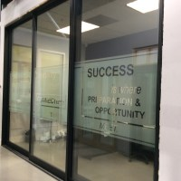 Creative Custom Frost Design for Office Windows