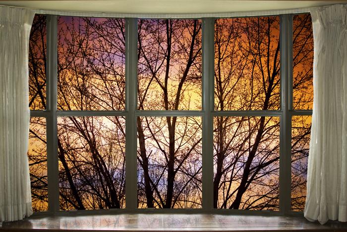 Wallpaper Fall Farmhouse Sunset Into The Night Bay Window View Window Frame Art