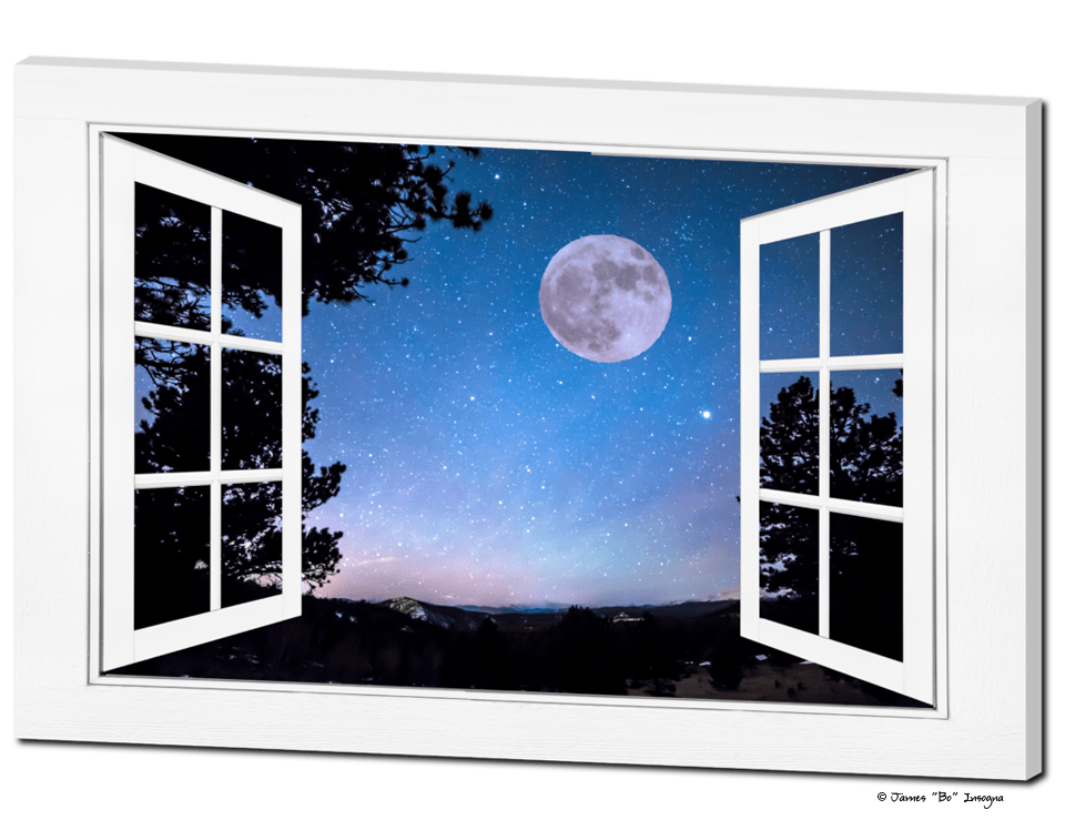 Cartoon Fall Wallpaper Starry Night Full Moon Open White Picture Window Art View
