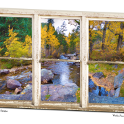 Happy Place Forest Creek Rustic Window View Art 32″x48″x1.25″ Premium Canvas Gallery Wrap