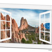 Garden Of The Gods Open 12 Pane White Picture Window Frame View 32″x48″x1.25″ Premium Canvas Gallery Wrap Art