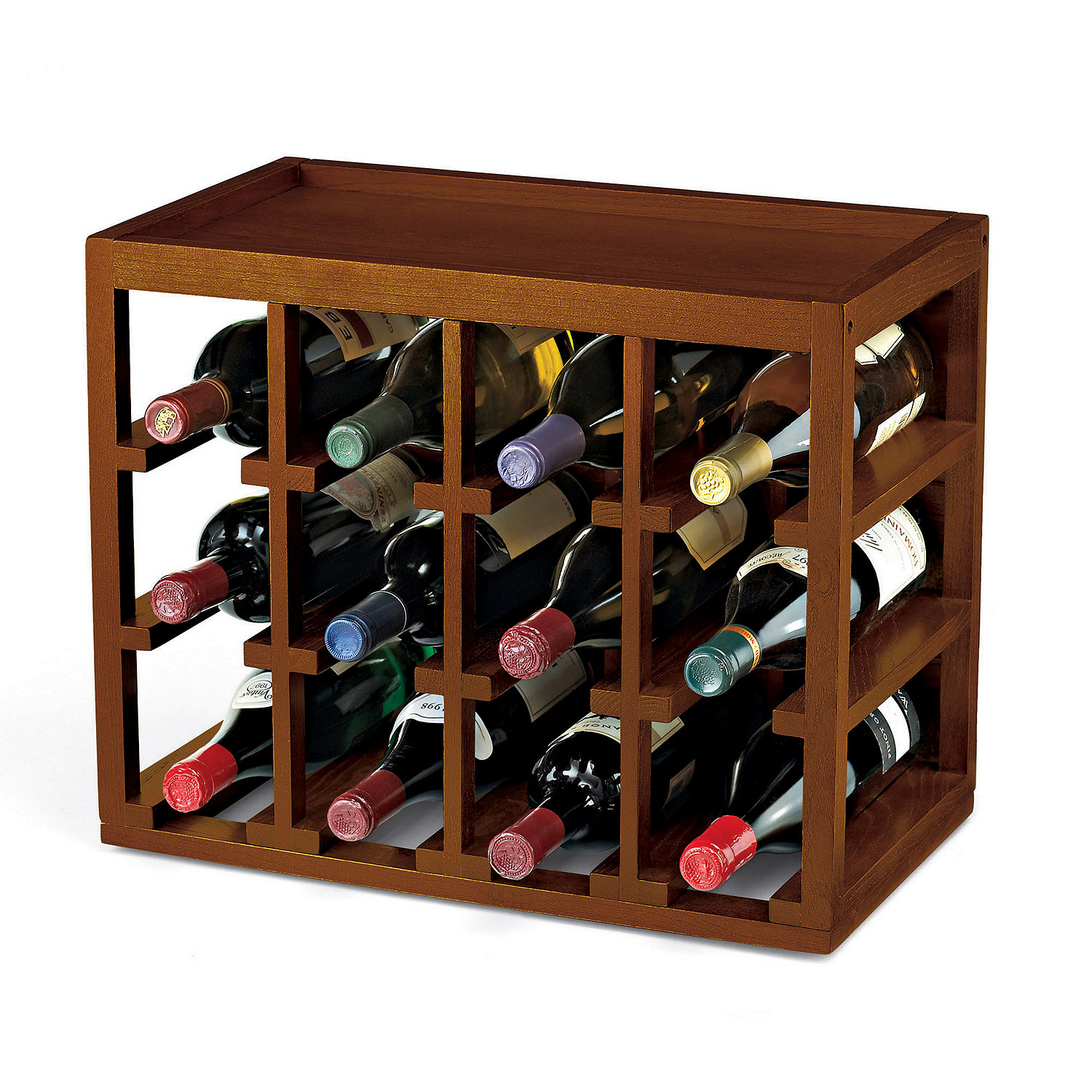 Wooden Bottle Rack 12 Bottle Cube Stack Wine Rack Wine Enthusiast