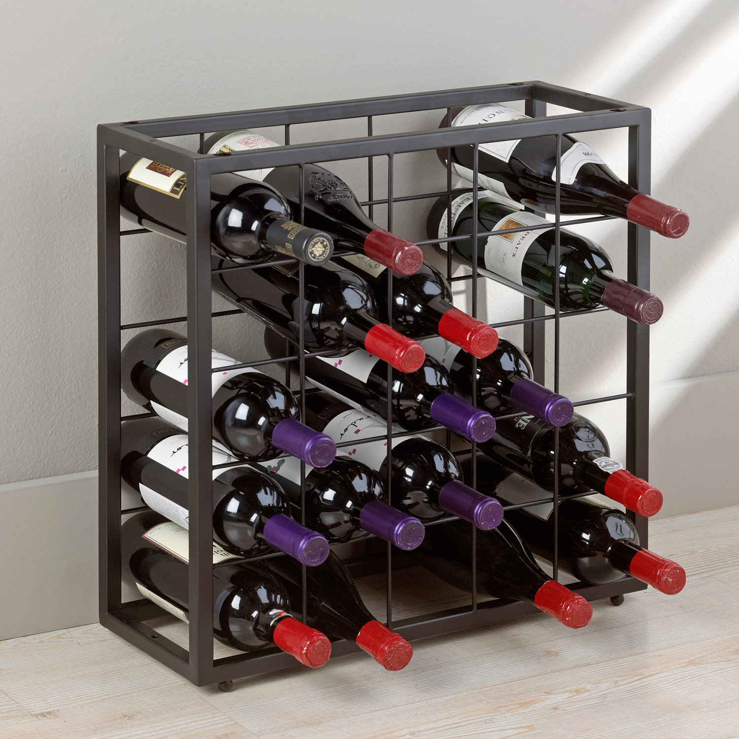 Metal Wine Storage Racks Black Steel 25 Bottle Stackable Grid Wine Enthusiast