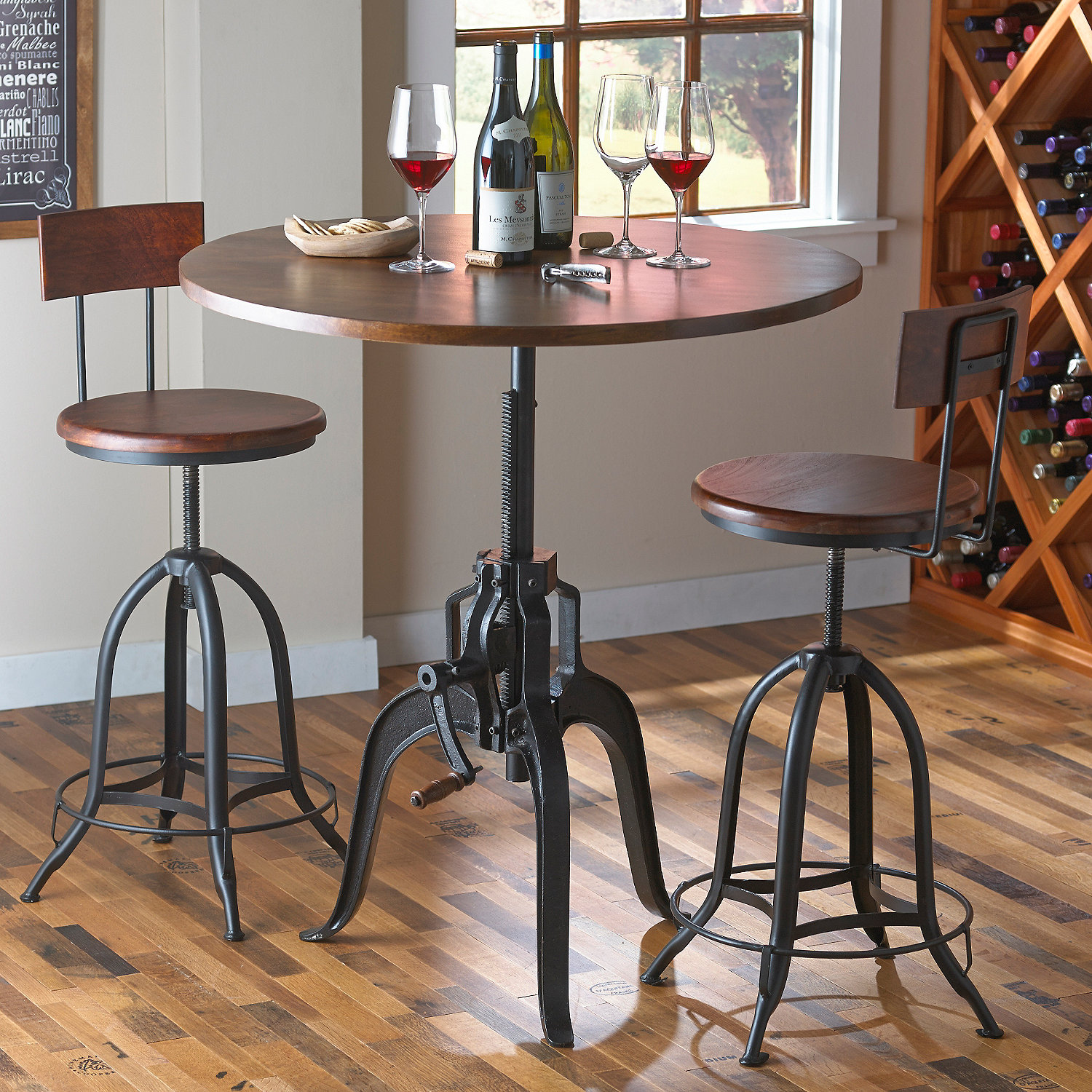 Table And Bar Stools Industrial Crank Pub Table And Two Stools Wine Enthusiast