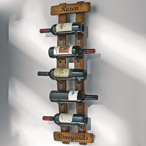 Personalized Reclaimed Barrel Stave Wall Rack Wine