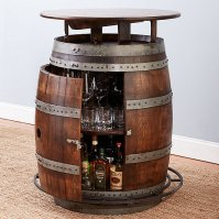Vintage Oak Barrel Bistro Table (Whiskey Finish)