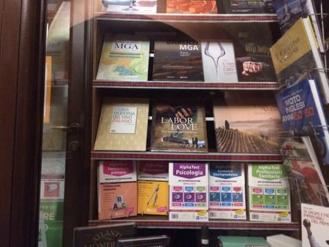 Window of Zanoletti bookstore in Alba, Italy.