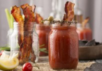 alcohol, alcoholic, bacon, bloody, mary, caesar, ceasar, celery, clamato, cocktail,  glass, jar, juice, lemon, lime, liquor,  mason, pepper, peppers, Red, refreshment, salt, sliced, spicey, tabasco, tomato,  vodka, olives, pickled, onions