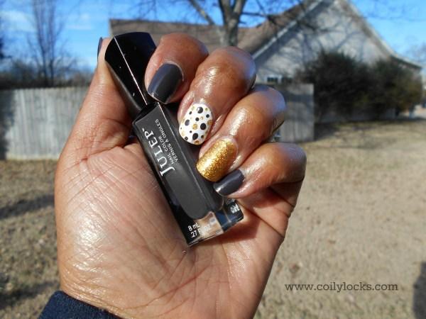Polka Dots Brown Gold White Manicure monday coily locks alisha lampley