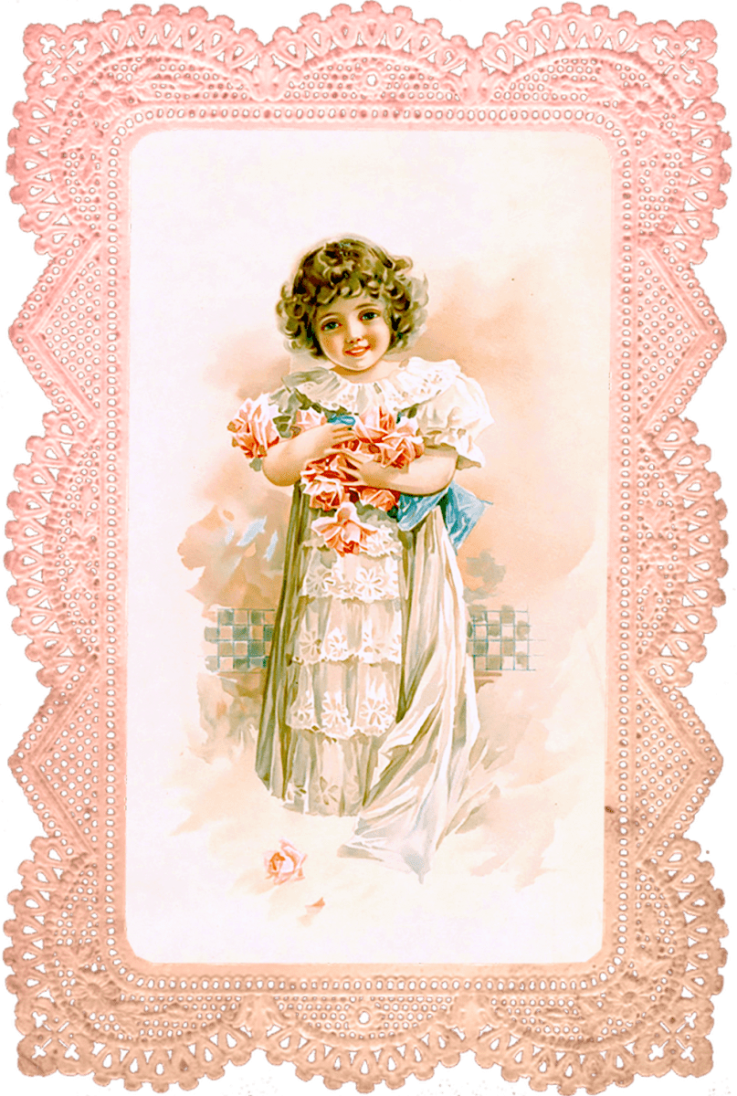 Cute Little Sister Wallpaper Rose Girl In Pink Lace Frame No 1 Of 2 Wings Of Whimsy