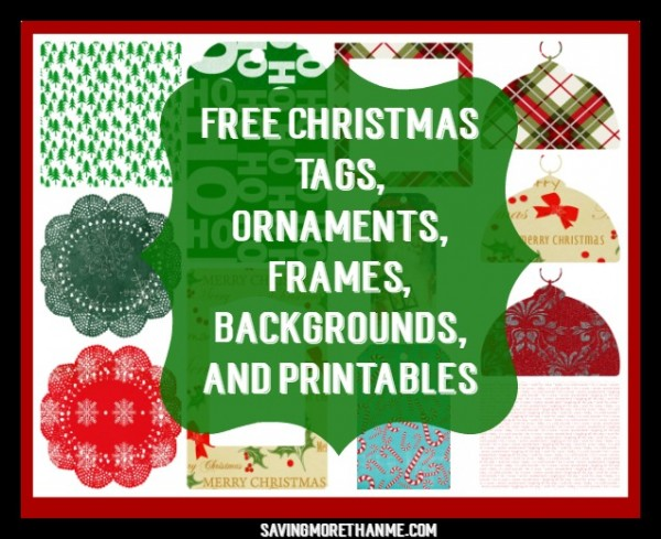 Free Christmas Tags, Ornaments, Frames, Backgrounds, and Printables
