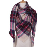 Cream, Pink, Red & Green Triangle Winter Scarf for Women