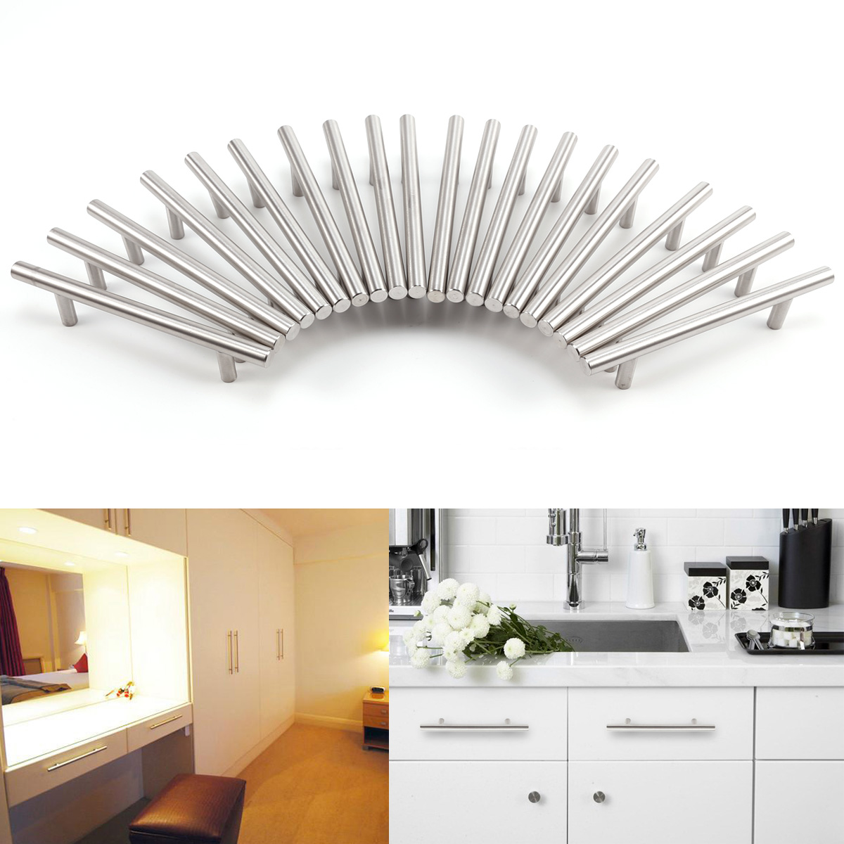 Chrome Handles For Kitchen Cabinets 20 60x T Bar Hollow Chrome Kitchen Cupboard Cabinet Drawer Door