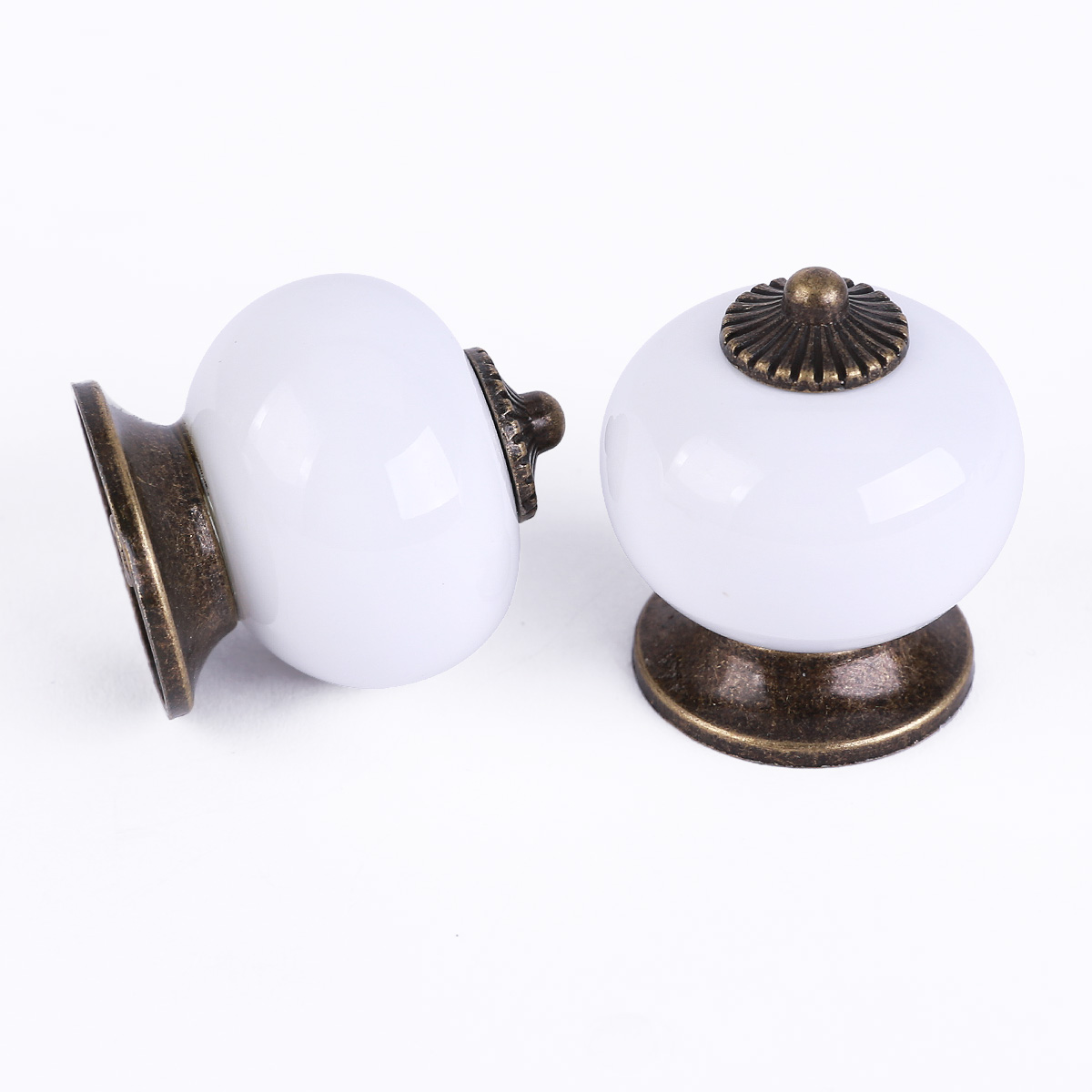 Kitchen Cabinet Knobs Ceramic Ceramic Door Round Handles White Kitchen Cabinet Cupboard