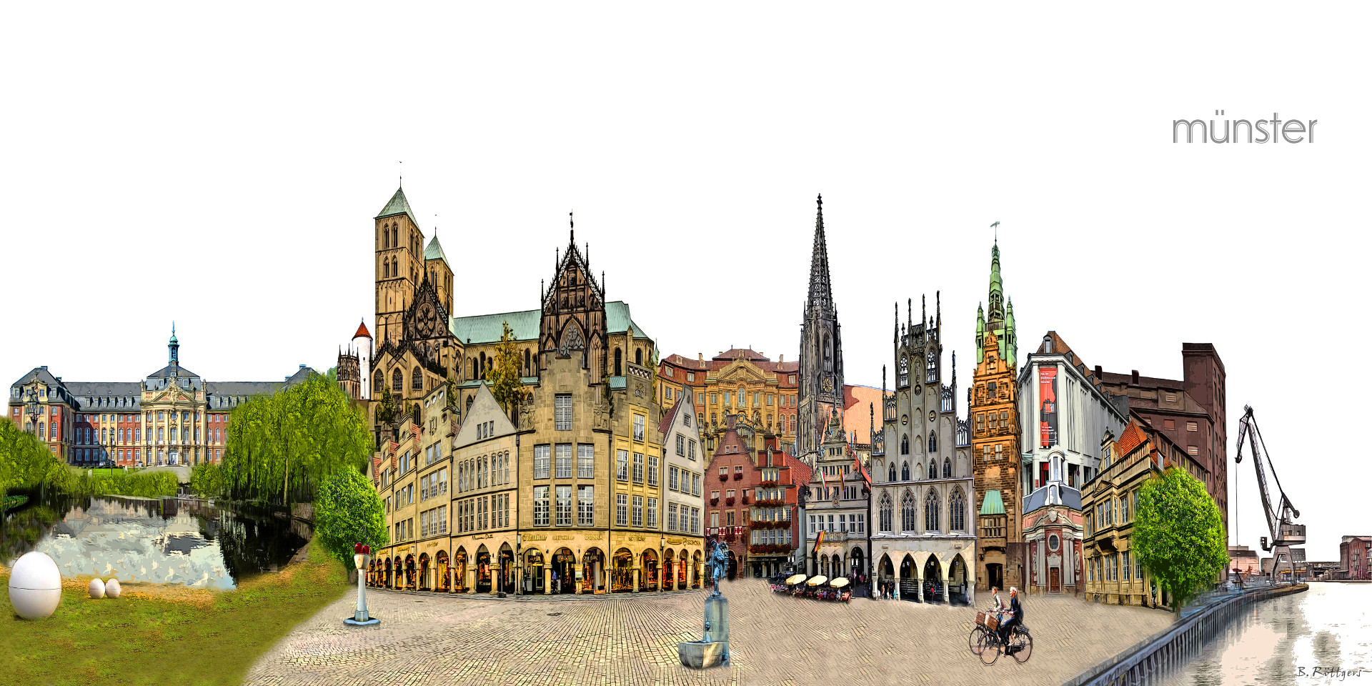 Collage Bilder Photo Art Muenster Collage | Artistic Collage Of Muenst's Landmarks - Artistic Images And Print-art