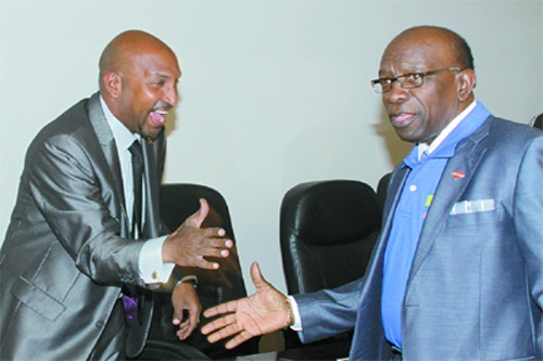Photo: Former Sport Minister Anil Roberts (left) and ex-National Security Minister Jack Warner. (Copyright Trinidad Guardian)