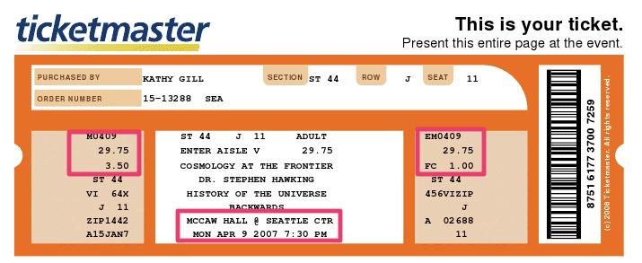 Blank Ticketmaster Template Ticketmaster ticket stub 2007
