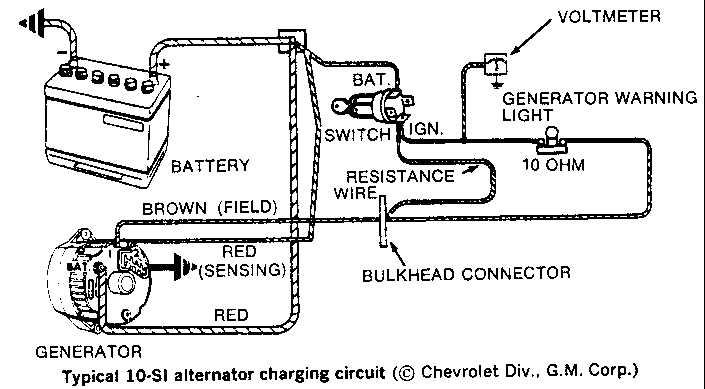 wiring diagram alternator to battery