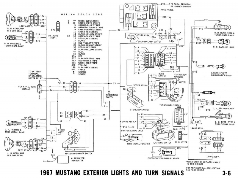 67 mustang interior wiring diagram