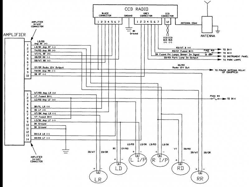 1994 dodge factory radio wiring diagram schematic