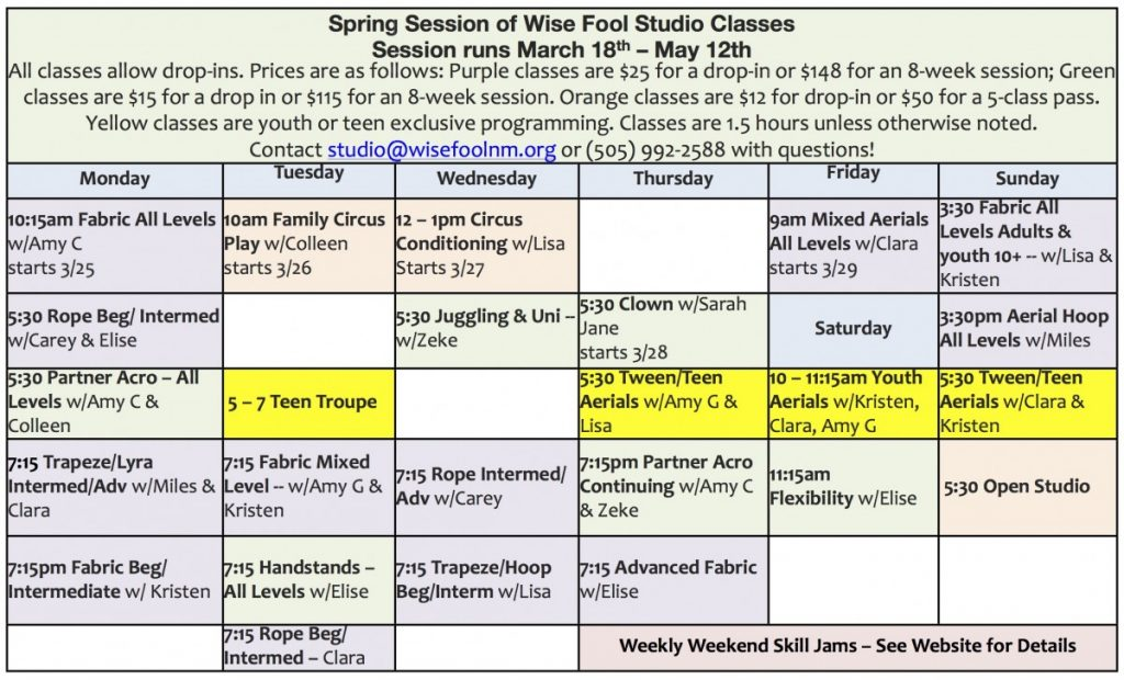 Studio Classes \u2013 Wise Fool New Mexico