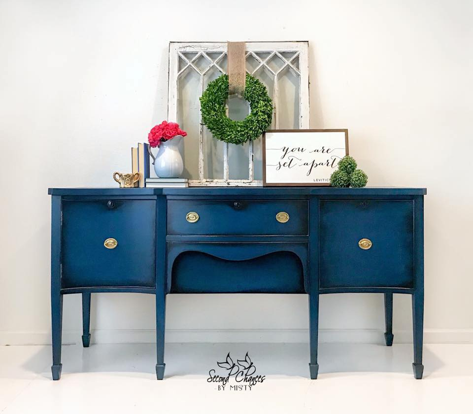 Buffet Sideboard Blue Seasonal Limited Edition Prussian Blue Painted Sideboard Buffet
