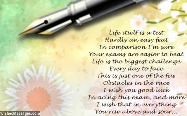 Inspirational Exam Poems Best Wishes and Good Luck \u2013 WishesMessages