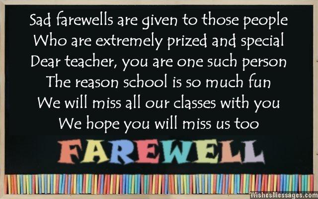 Farewell Poems for Teacher Goodbye Poems for Teacher