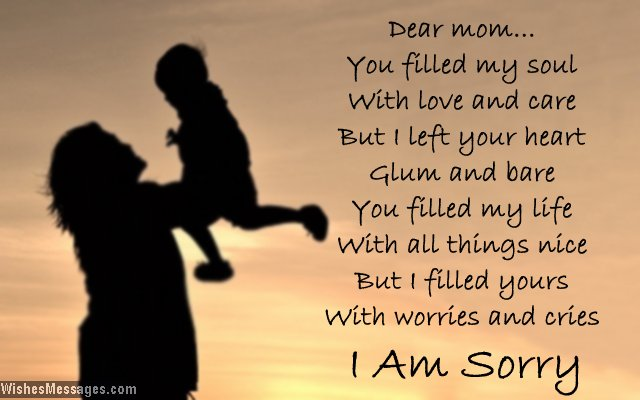 I am sorry messages for mom \u2013 WishesMessages - apology card messages