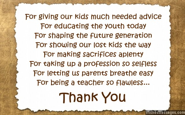 Thank You Messages to Teachers from Parents Notes and Quotes