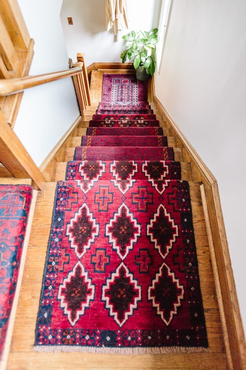 Stairs Rug Runners Mix Matched Patterns Diy Stair Runner Made With Vintage Rugs