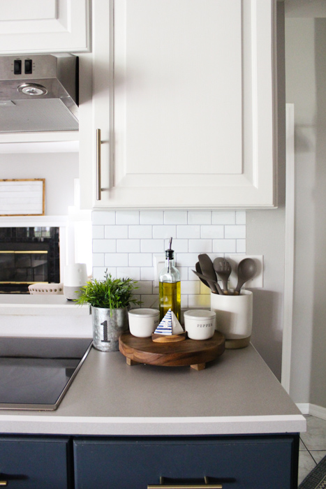 Installing Kitchen Wall Cabinets Using Self-adhesive Wall Tile For Our Kitchen Backsplash