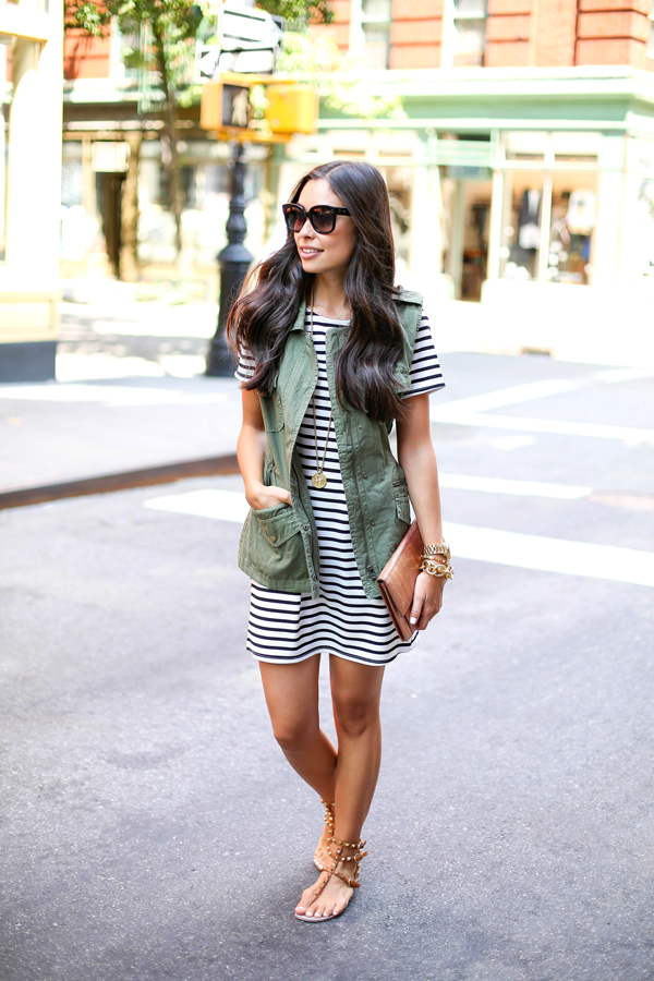 Stripe dress and green vest
