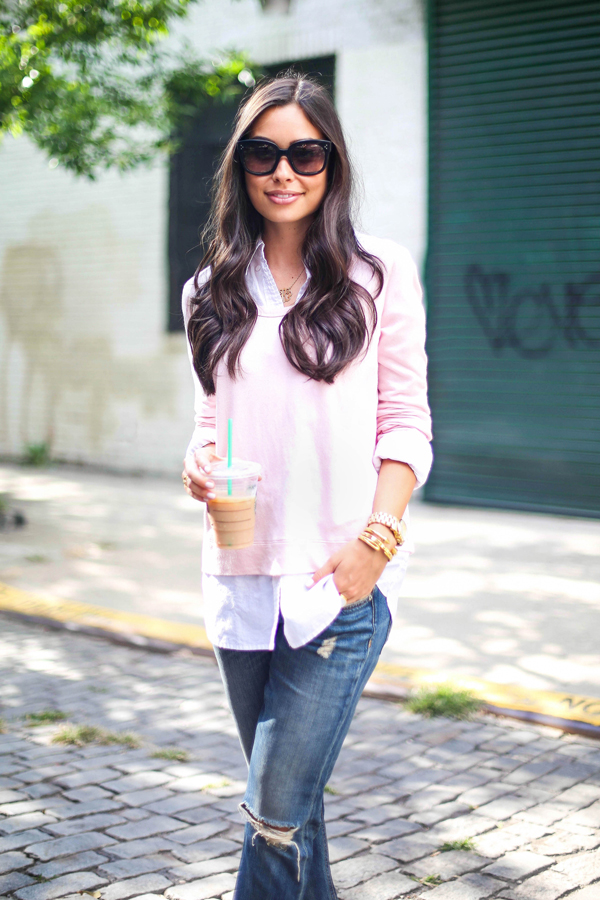 Blush pink sweater and white button down