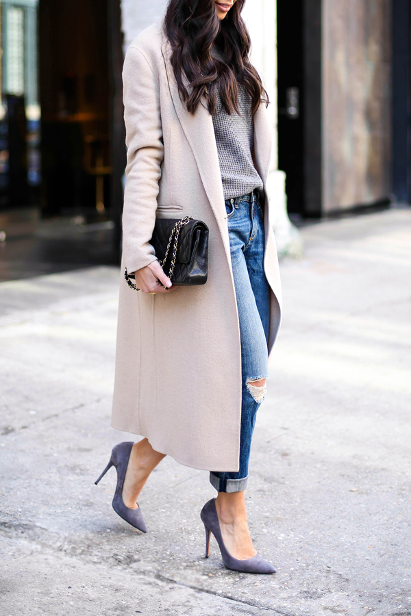 Long camel coat with grey suede pumps