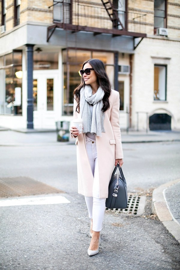 Blush pink coat with white skinny jeans