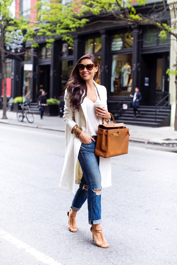 White coat + Boyfriend jeans