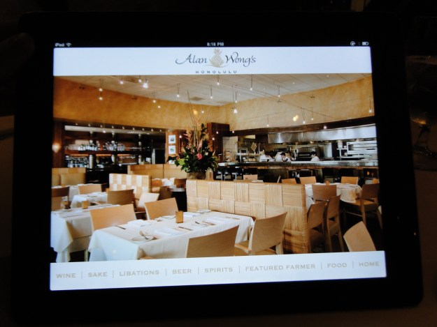 Menu and wine list on an iPad!