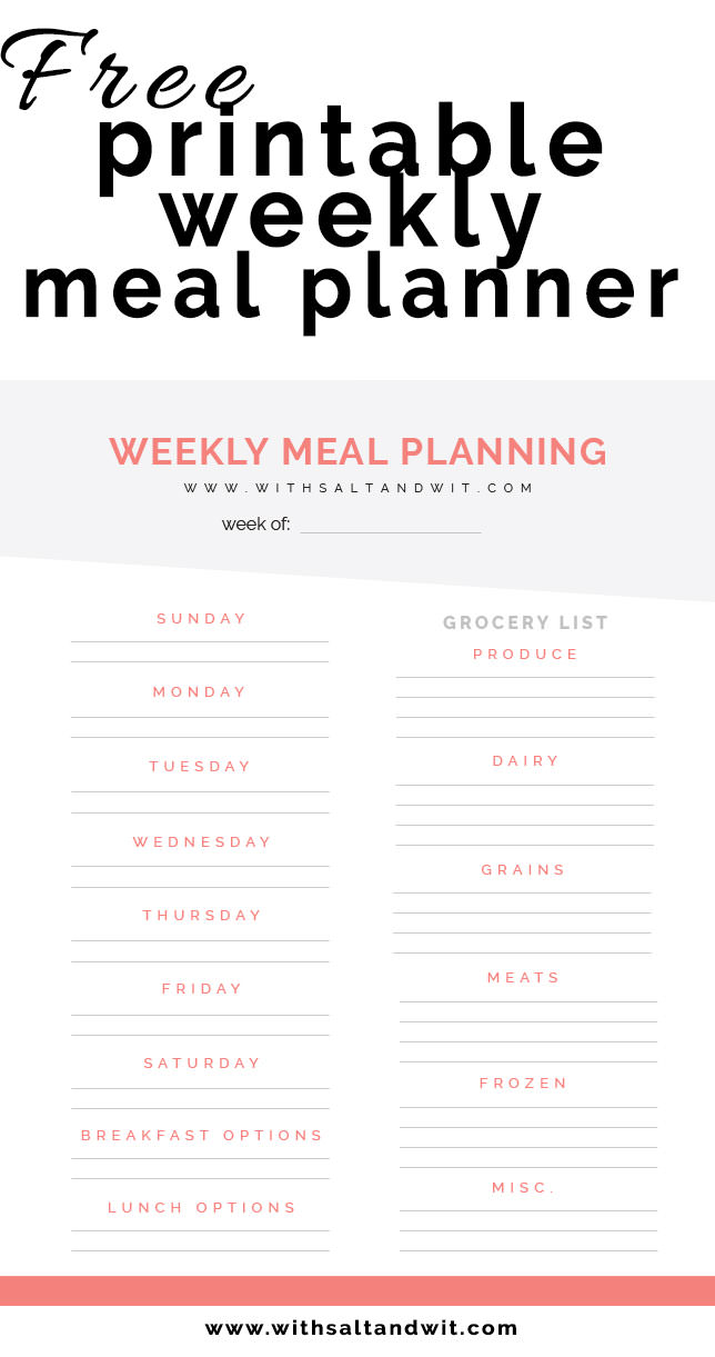Free Printable Weekly Meal Planner with Grocery List - Printable Weekly Menu Planner With Grocery List