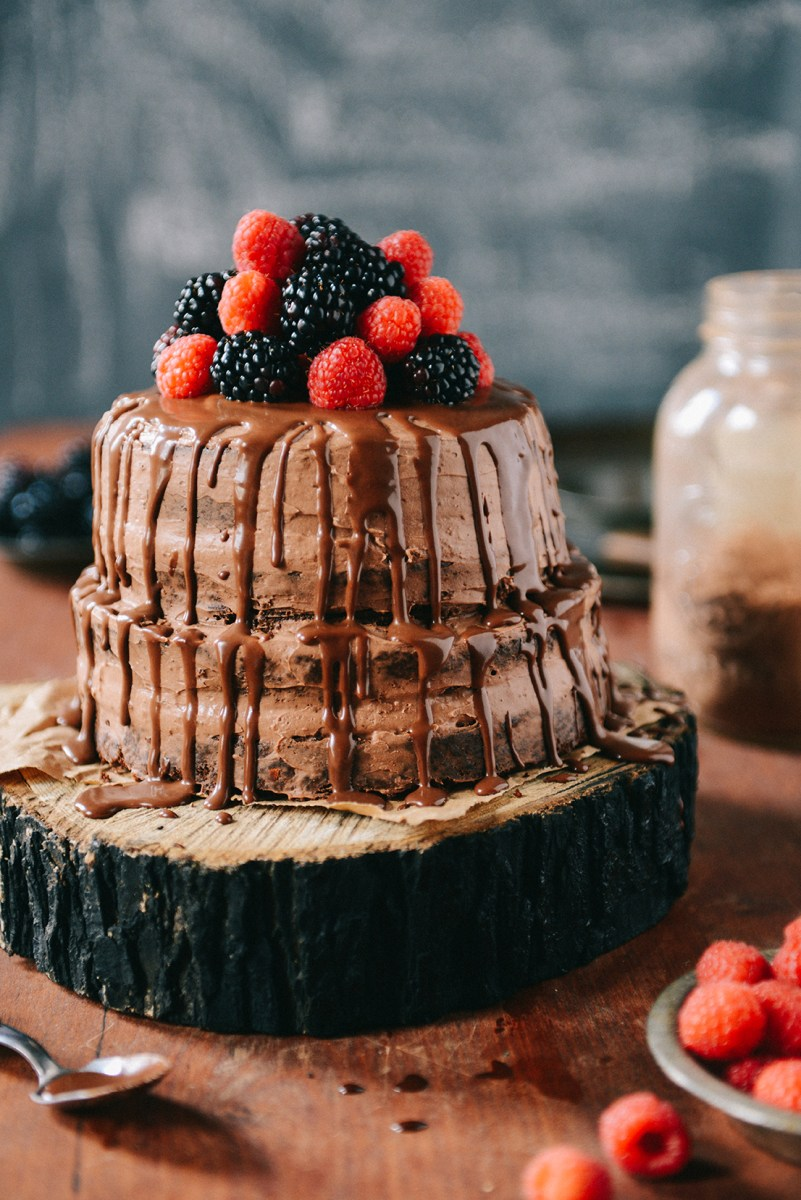 Whole Wheat Carob Apricot Cake with Chocolate Frosting & Chocolate Ganache