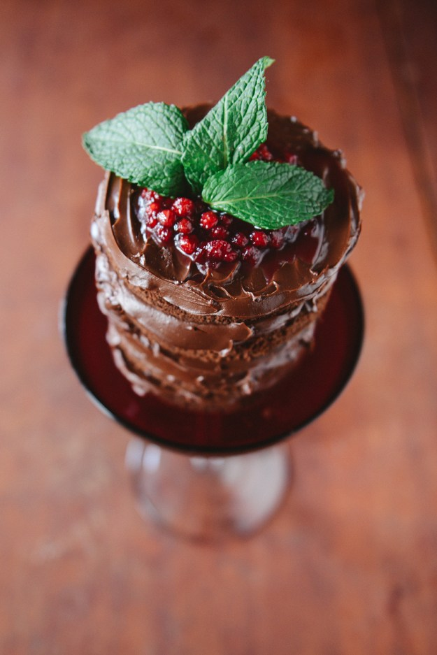 Whole Wheat Mint Chocolate Cake with Dark Chocolate Ganache & Lingonberry Sauce // www.WithTheGrains.com