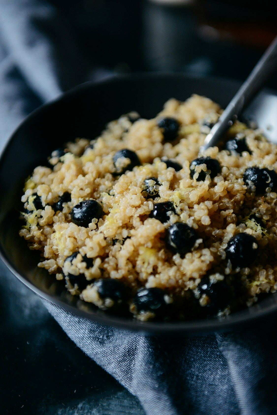 Lemon Blueberry Breakfast Quinoa // www.WithTheGrains.com